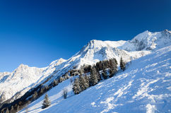 Snow hill with skiing pistes Stock Images