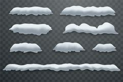 Snow hills, snowdrifts. Realistic snow masses. New Year`s winter ice decorations Royalty Free Stock Image