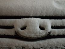 Pig snout. The snow on the hood of the car lies on the badge and grille in the shape of a snout pig stock image