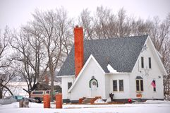 Snow house. House covered with snow on the ground in midwest regions of USA Royalty Free Stock Photo