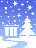 Snow house tree. Snow flakes , house and christmas trees Vector Illustration