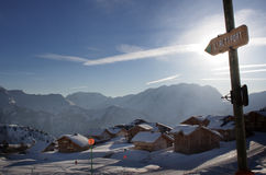 Snow houses. French wooden ski lodges in Alp'd'Heuz Stock Images