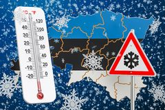 Snow hurricane, blizzards and winter storm in Estonia concept, 3. D Royalty Free Stock Image