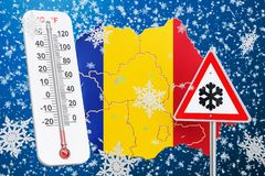 Snow hurricane, blizzards and winter storm in Romania concept, 3. D Royalty Free Stock Photos