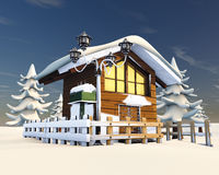 Snow hut. 3D rendering, snow  and chalet Stock Image