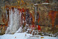 Snow and ice on canyon wall Royalty Free Stock Image