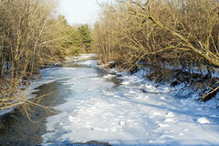 Snowy Strean. Snow and ice cover the Normans Kill Creek in Princetown, New York Stock Photography