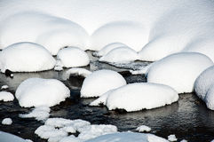 Snow and ice covered creek Stock Images
