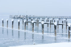 Snow, Ice and Frozen Pier Royalty Free Stock Photo
