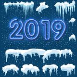 Snow ice icicle set Winter design. 2019 Christmas snow template. Snowy frame decoration isolated on blue background. Cartoon style. Snow ice icicle set Winter royalty free illustration
