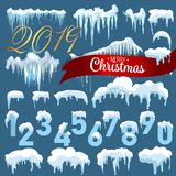 Snow ice icicle set Winter design. 2019 Christmas snow template. Snowy frame decoration isolated on blue background. Cartoon style. Snow ice icicle set Winter vector illustration