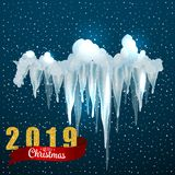 Snow ice icicle set Winter design. 2019 Christmas snow template. Snowy frame decoration isolated on blue background. Cartoon style. Snow ice icicle set Winter royalty free stock photos