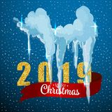 Snow ice icicle set Winter design. 2019 Christmas snow template. Snowy frame decoration isolated on blue background. Cartoon style. Snow ice icicle set Winter stock photo