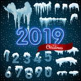 Snow ice icicle set Winter design. 2019 Christmas snow template. Snowy frame decoration isolated on blue background. Cartoon style. Snow ice icicle set Winter stock illustration