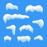 Snow ice icicle set Winter design. White blue snow template. Snowy frame decoration isolated on blue background. Cartoon Royalty Free Stock Image