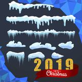 Snow ice icicle set Winter design. White blue snow template. Snowy frame decoration isolated on blue background. Cartoon style. 20. Snow ice icicle set Winter vector illustration