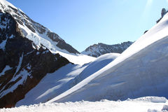 Snow and ice of the Jungfraujoch in Switzerland stock photography