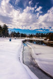 Snow and ice on Kiwanis Lake, in York, Pennsylvania. Royalty Free Stock Photography