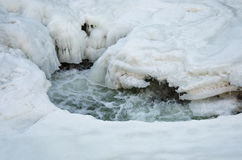 Snow and Ice melting on the river Royalty Free Stock Photo