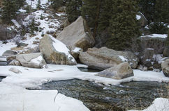Snow and Ice melting on the river Royalty Free Stock Images