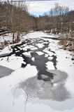Snow and Ice on the Patapsco River in Maryland. Snow, ice, and duck footprints on the Patapsco River in Ellicott City, Maryland Stock Image