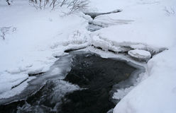 The snow, the ice and the river with the small riffle. Stock Photography