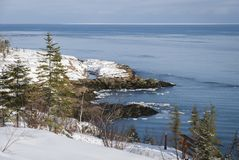 View of the St. Lawrence Estuary in winter in Canada stock photos