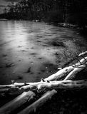 Snow and ice on Sunfish Pond, along the Appalachian Trail Royalty Free Stock Photo