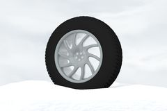 Snow Ice Tire concept 3d rendering illustration Royalty Free Stock Images