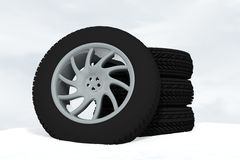 Snow Ice Tire concept 3d rendering illustration. Wheel Stock Images