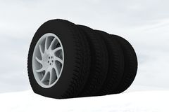 Snow Ice Tire concept 3d rendering illustration Royalty Free Stock Photography