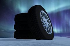 Snow Ice Tire concept 3d rendering illustration Royalty Free Stock Photos