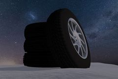 Snow Ice Tire concept 3d rendering illustration Royalty Free Stock Photo