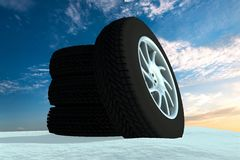 Snow Ice Tire concept 3d rendering illustration Stock Photography