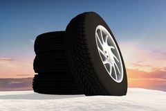 Snow Ice Tire concept 3d rendering illustration Stock Images