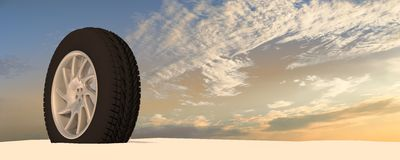 Snow Ice Tire concept 3d rendering illustration Stock Photos