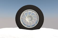 Snow Ice Tire concept 3d rendering illustration Stock Image