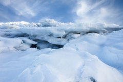 Snow and ice. On top of the surface of sea Royalty Free Stock Image