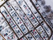 Aerial view of snow compromised carpark in England. Royalty Free Stock Photo