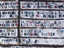 Aerial view of snow compromised carpark in England. Royalty Free Stock Photos