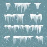 Snow icicles set Stock Photo