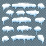 Snow icicles set on transparent vector illustration