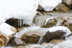 Snow,Icicles and Water Rushing over Rocks. A winter scene of water rushing over brown rocks, some covered by snow with hanging icicles royalty free stock image