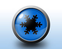 Snow icon. Circular glossy button. Stock Image