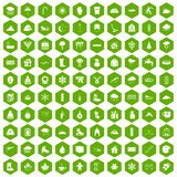 100 snow icons hexagon green. 100 snow icons set in green hexagon isolated vector illustration Stock Photography