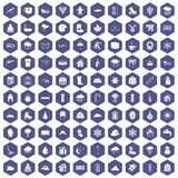 100 snow icons hexagon purple. 100 snow icons set in purple hexagon isolated vector illustration Stock Photos