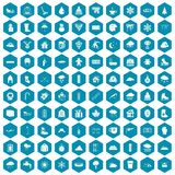 100 snow icons sapphirine violet. 100 snow icons set in sapphirine hexagon isolated vector illustration Stock Image