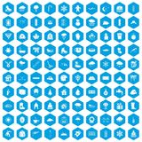 100 snow icons set blue. 100 snow icons set in blue hexagon isolated vector illustration Vector Illustration