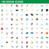 100 snow icons set, cartoon style. 100 snow icons set in cartoon style for any design illustration royalty free illustration