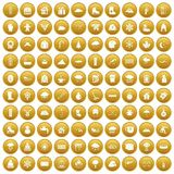 100 snow icons set gold. 100 snow icons set in gold circle isolated on white vector illustration Stock Images